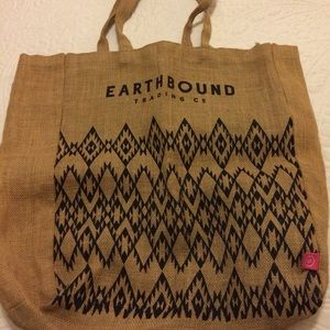 A burlap beach bag
